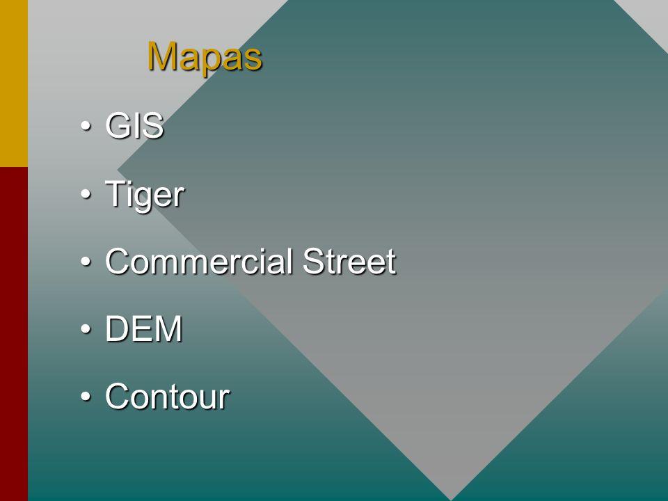 Mapas GISGIS TigerTiger Commercial StreetCommercial Street DEMDEM ContourContour