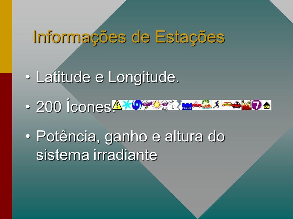 Informações de Estações Latitude e Longitude.Latitude e Longitude.