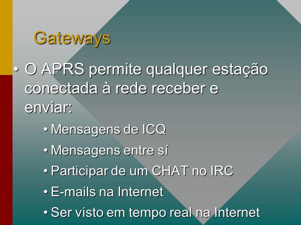 Gateways O APRS permite qualquer estação conectada à rede receber e enviar:O APRS permite qualquer estação conectada à rede receber e enviar: Mensagens de ICQMensagens de ICQ Mensagens entre síMensagens entre sí Participar de um CHAT no IRCParticipar de um CHAT no IRC E-mails na InternetE-mails na Internet Ser visto em tempo real na InternetSer visto em tempo real na Internet