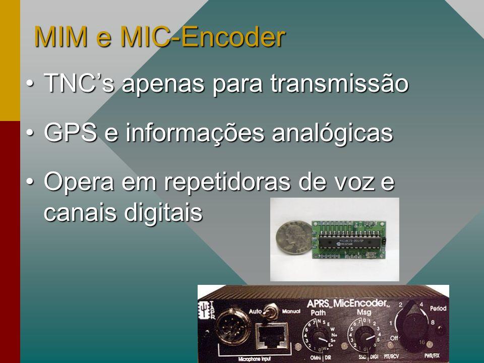 MIM e MIC-Encoder TNCs apenas para transmissãoTNCs apenas para transmissão GPS e informações analógicasGPS e informações analógicas Opera em repetidoras de voz e canais digitaisOpera em repetidoras de voz e canais digitais