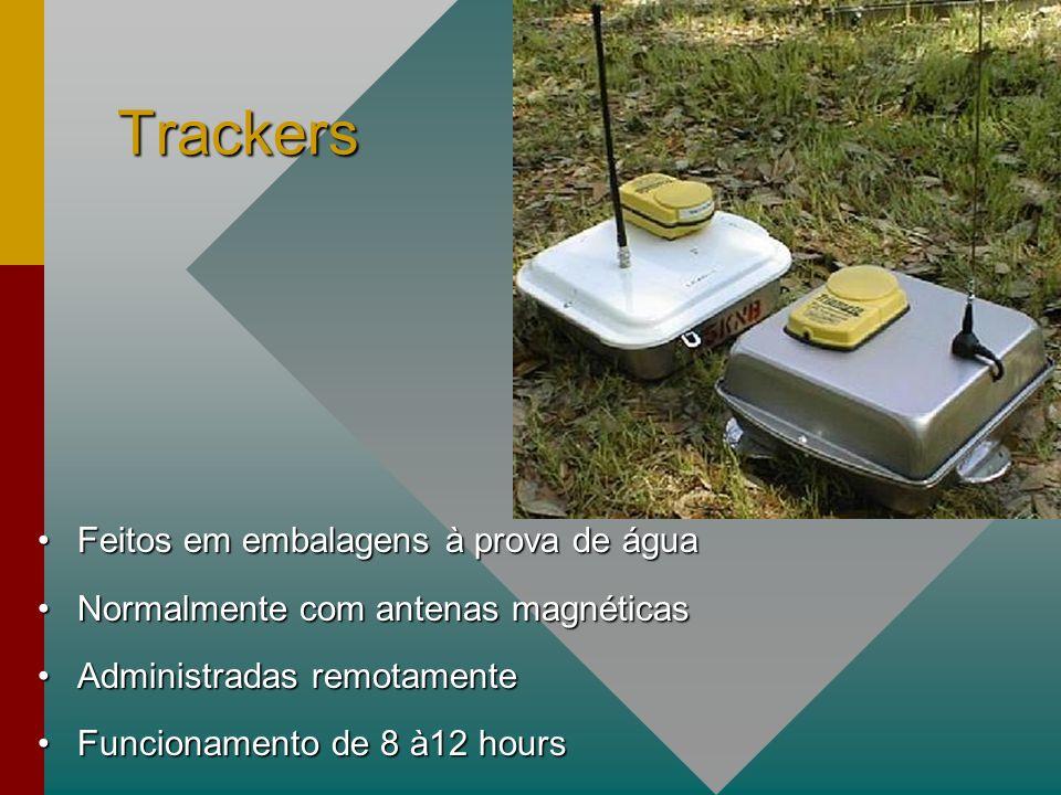 Trackers Feitos em embalagens à prova de águaFeitos em embalagens à prova de água Normalmente com antenas magnéticasNormalmente com antenas magnéticas Administradas remotamenteAdministradas remotamente Funcionamento de 8 à12 hoursFuncionamento de 8 à12 hours