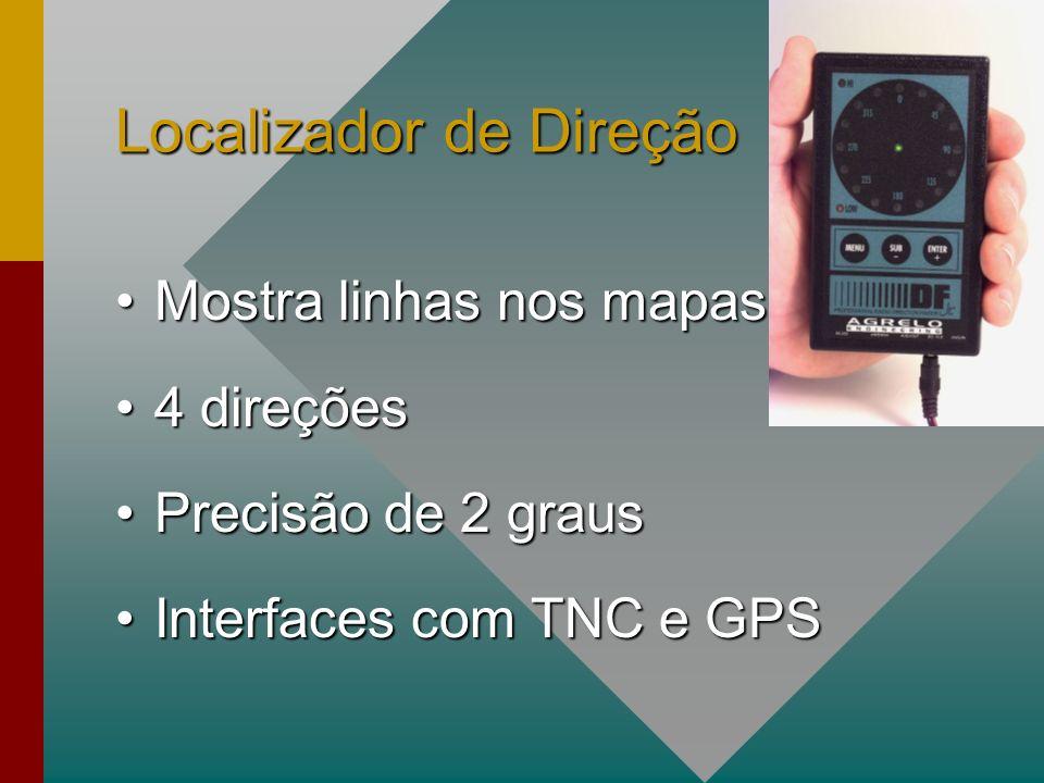 Localizador de Direção Mostra linhas nos mapasMostra linhas nos mapas 4 direções4 direções Precisão de 2 grausPrecisão de 2 graus Interfaces com TNC e GPSInterfaces com TNC e GPS