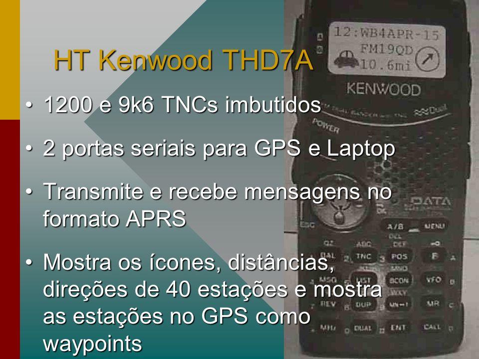 HT Kenwood THD7A 1200 e 9k6 TNCs imbutidos1200 e 9k6 TNCs imbutidos 2 portas seriais para GPS e Laptop2 portas seriais para GPS e Laptop Transmite e recebe mensagens no formato APRSTransmite e recebe mensagens no formato APRS Mostra os ícones, distâncias, direções de 40 estações e mostra as estações no GPS como waypointsMostra os ícones, distâncias, direções de 40 estações e mostra as estações no GPS como waypoints