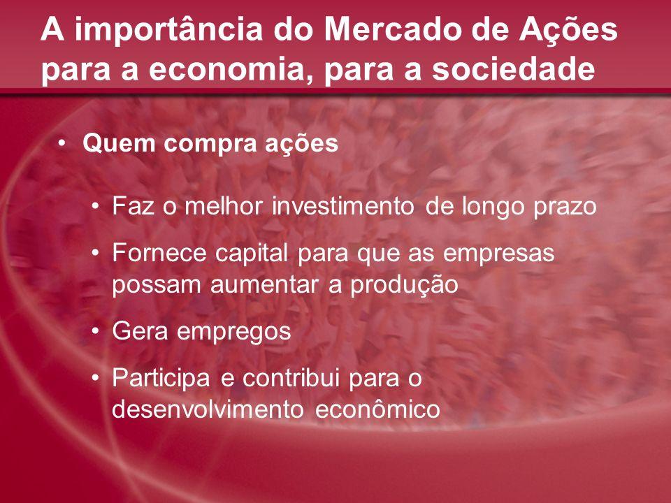 A importância do Mercado de Ações para a economia, para a sociedade Quem compra ações Faz o melhor investimento de longo prazo Fornece capital para qu