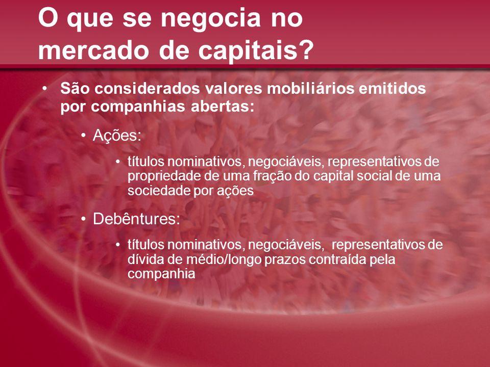 O que se negocia no mercado de capitais? São considerados valores mobiliários emitidos por companhias abertas: Ações: títulos nominativos, negociáveis