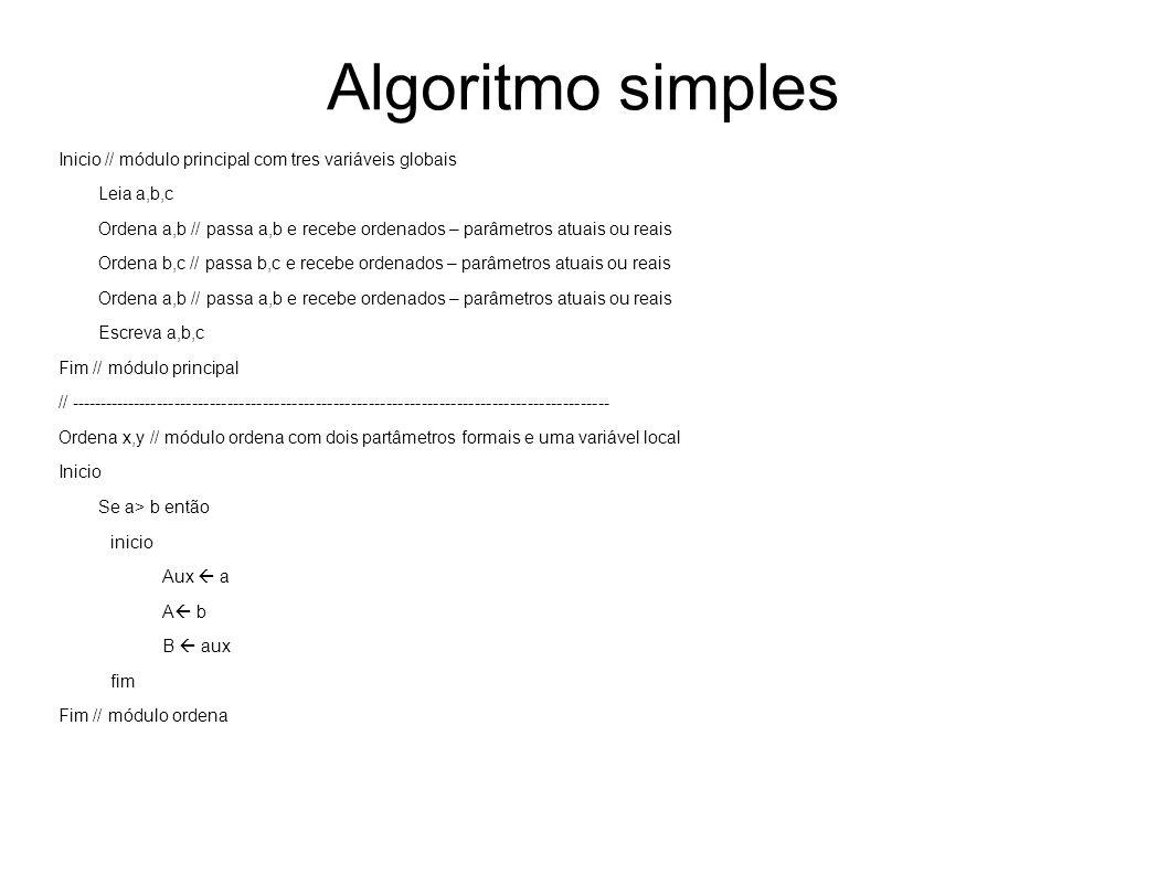 Algoritmo simples Inicio // módulo principal com tres variáveis globais Leia a,b,c Ordena a,b // passa a,b e recebe ordenados – parâmetros atuais ou r