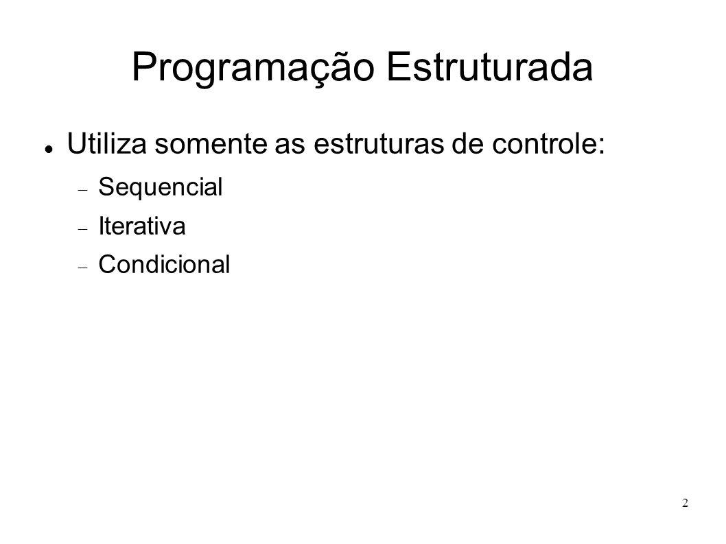 2 Programação Estruturada Utiliza somente as estruturas de controle: Sequencial Iterativa Condicional