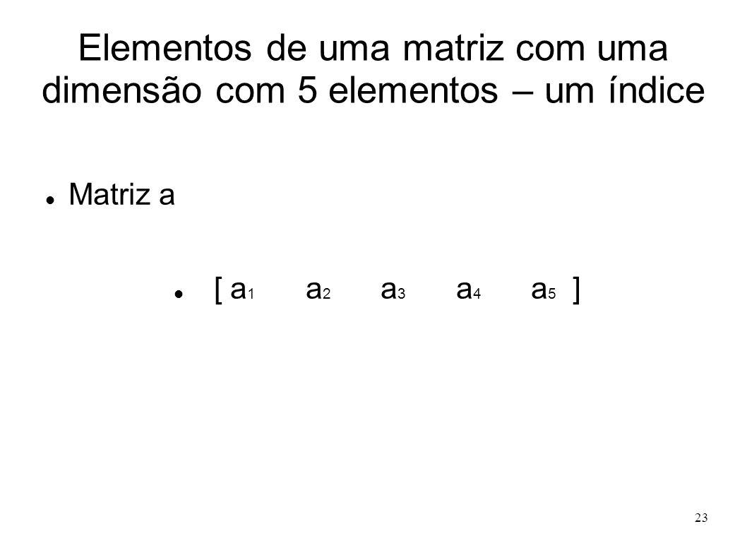 23 Elementos de uma matriz com uma dimensão com 5 elementos – um índice Matriz a [ a 1 a 2 a 3 a 4 a 5 ]