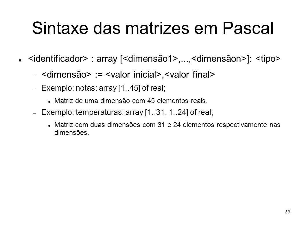 25 Sintaxe das matrizes em Pascal : array [,..., ]: :=, Exemplo: notas: array [1..45] of real; Matriz de uma dimensão com 45 elementos reais. Exemplo: