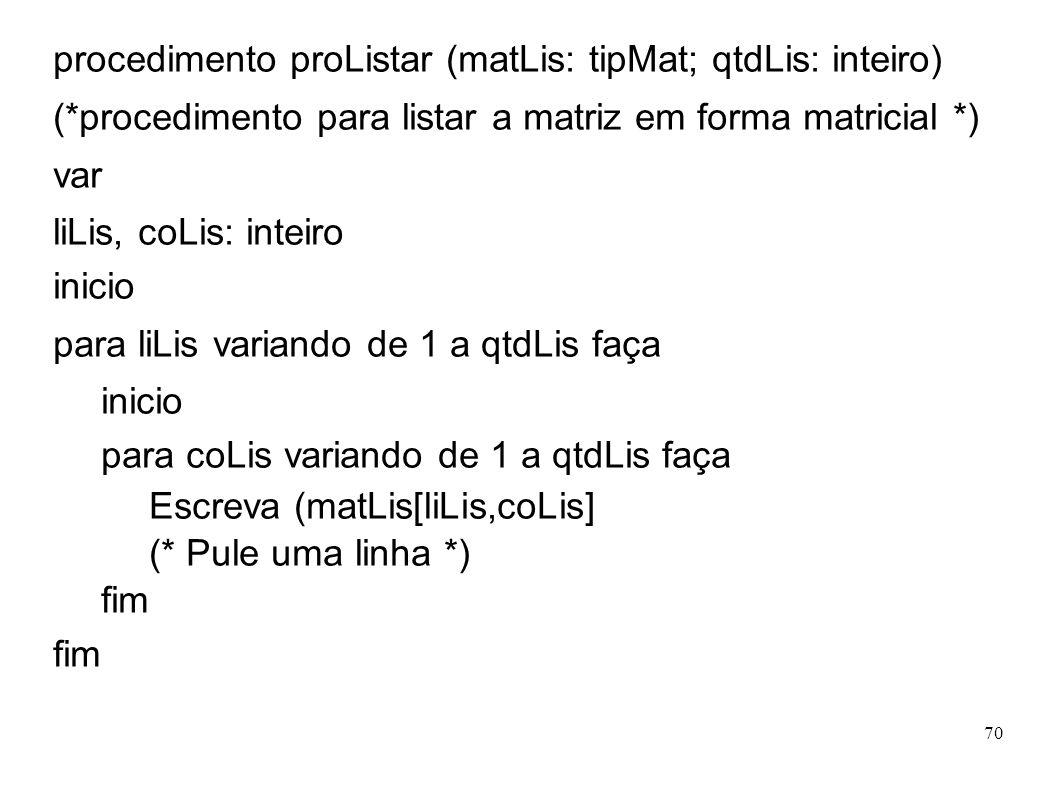 70 procedimento proListar (matLis: tipMat; qtdLis: inteiro) (*procedimento para listar a matriz em forma matricial *) var liLis, coLis: inteiro inicio