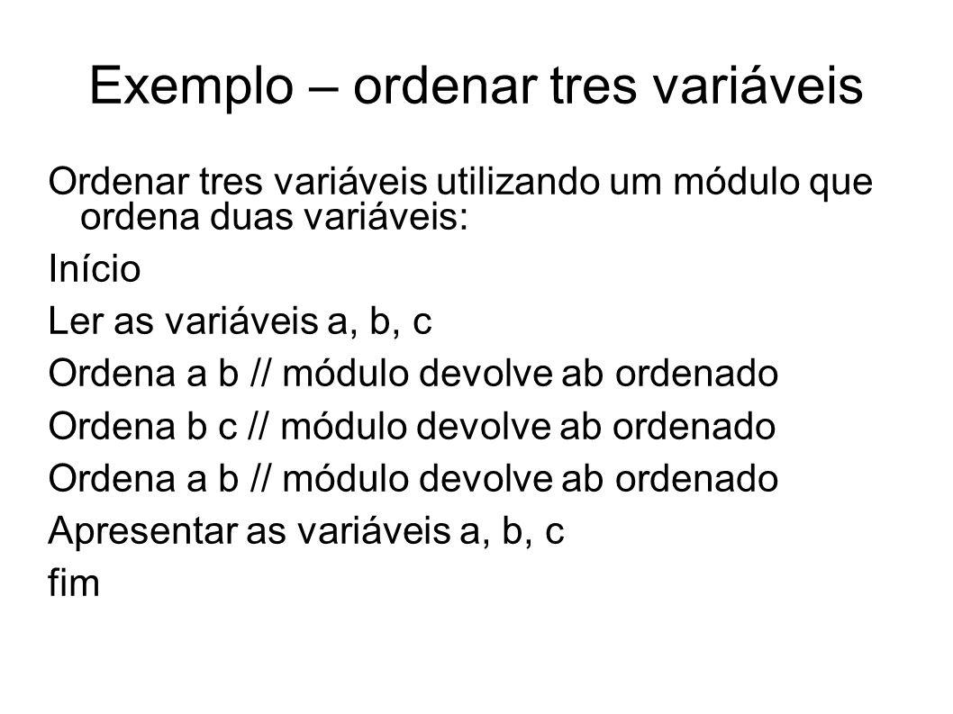 Exemplo – ordenar tres variáveis Ordenar tres variáveis utilizando um módulo que ordena duas variáveis: Início Ler as variáveis a, b, c Ordena a b //