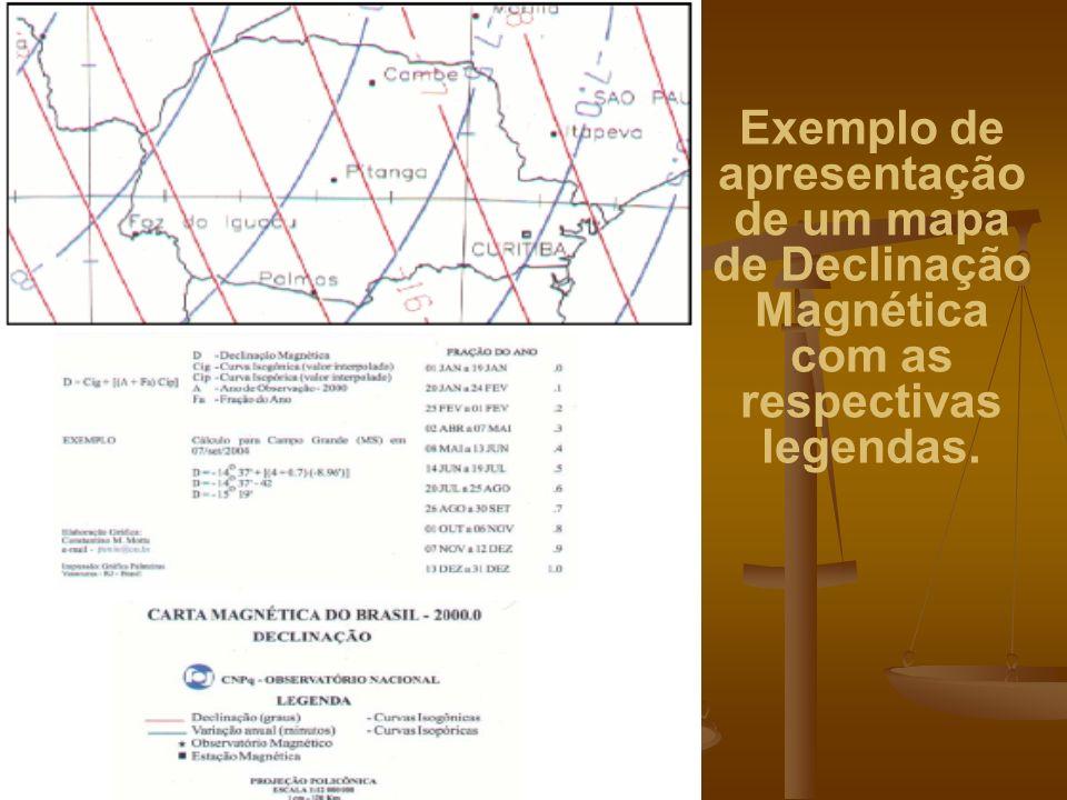 Exemplo de apresentação de um mapa de Declinação Magnética com as respectivas legendas.