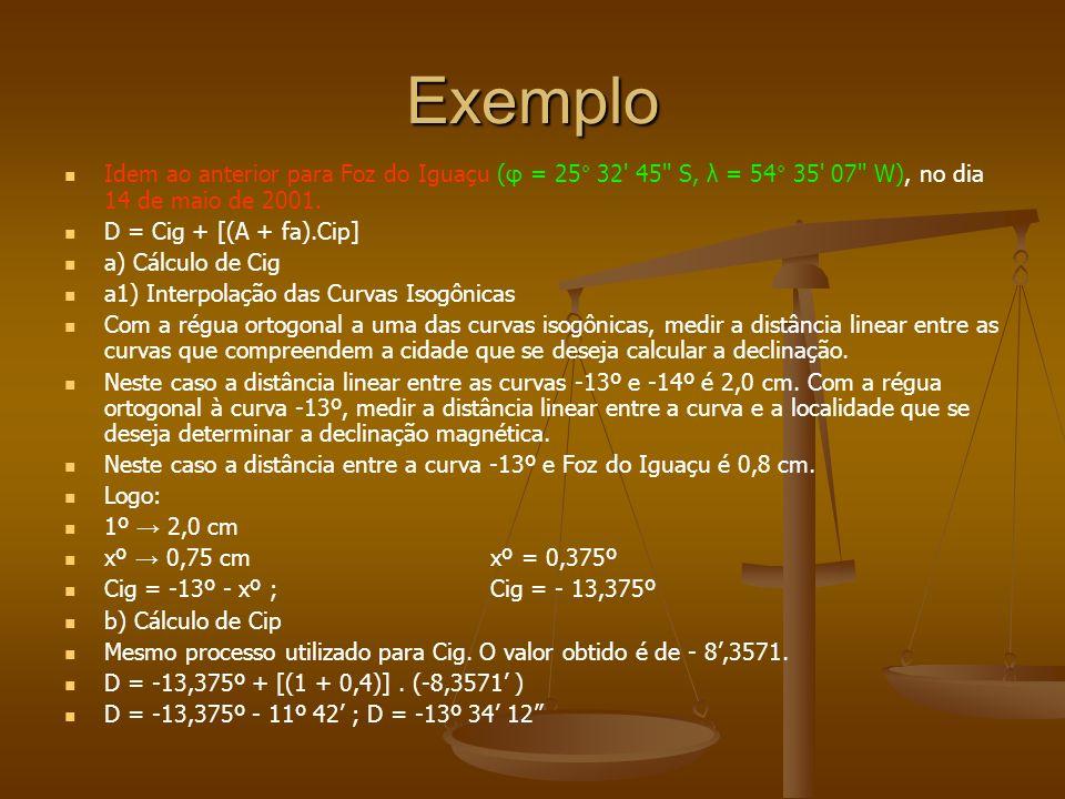 Exemplo Idem ao anterior para Foz do Iguaçu (φ = 25° 32' 45'' S, λ = 54° 35' 07'' W), no dia 14 de maio de 2001. D = Cig + [(A + fa).Cip] a) Cálculo d