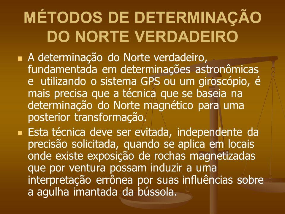 MÉTODOS DE DETERMINAÇÃO DO NORTE VERDADEIRO A determinação do Norte verdadeiro, fundamentada em determinações astronômicas e utilizando o sistema GPS