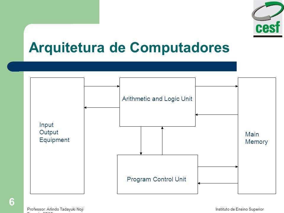 Professor: Arlindo Tadayuki Noji Instituto de Ensino Superior Fucapi - CESF 7 Arquitetura de Computadores Segunda Geração: – Computadores Transistorizados – Substituiu as Válvulas – Menor – Mais rápido – Mais barato – Menor dissipação de calor – Menor consumo de energia – Dispositivo Semicondutor (feito de Silício) – Capacidade de Ligar e Desligar a corrente elétrica: base de toda a lógica digital – Inventado (descoberto) em 1947 no Bell Labs – William Shockley, John Bardeen e Walter Bratain