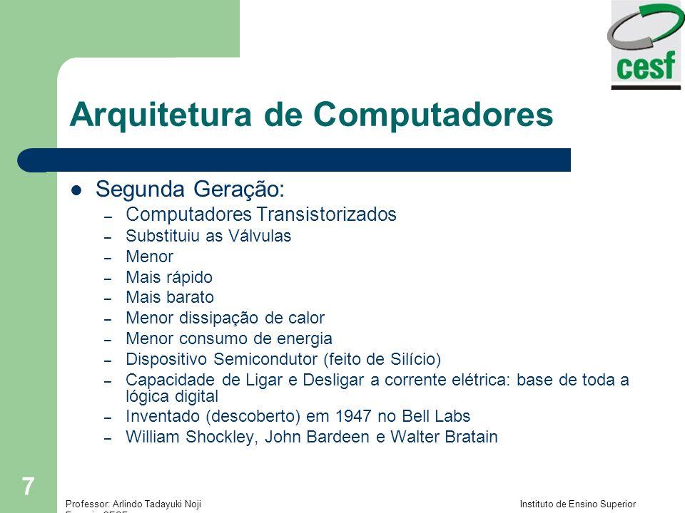 Professor: Arlindo Tadayuki Noji Instituto de Ensino Superior Fucapi - CESF 8 Arquitetura de Computadores Terceira Geração – Computadores com Circuitos Integrados – Integração em pequena escala (Small scale integration, SSI) – a partir de 1965 Até 100 componentes em um chip – Integração em média escala (Medium scale integration, MSI) - até 1971 100 - 3.000 componentes em um chip – Integração em grande escala (Large scale integration, LSI) - 1971- 1977 3.000 - 100.000 componentes em um chip – Integração em escala muito grande (Very large scale integration, VLSI) – a partir de 1978 100.000 – 100.000.000 componentes em um chip – Ultra large scale integration (ULSI) Mais de 100.000.000 componentes em um chip