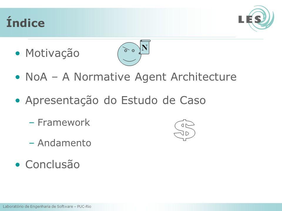 Laboratório de Engenharia de Software – PUC-Rio Índice Motivação NoA – A Normative Agent Architecture Apresentação do Estudo de Caso –Framework –Andam