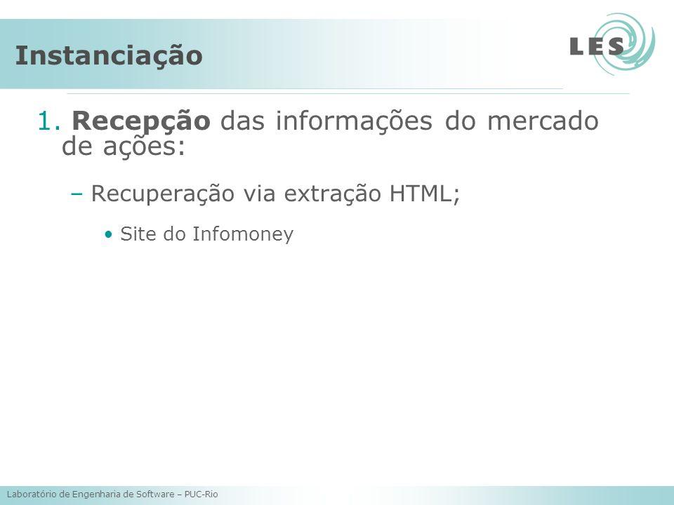 Laboratório de Engenharia de Software – PUC-Rio Instanciação 1. Recepção das informações do mercado de ações: –Recuperação via extração HTML; Site do