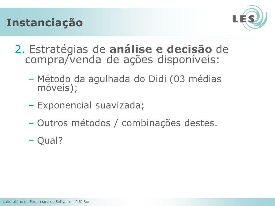 Laboratório de Engenharia de Software – PUC-Rio 2. Estratégias de análise e decisão de compra/venda de ações disponíveis: –Método da agulhada do Didi
