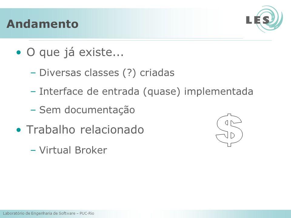 Laboratório de Engenharia de Software – PUC-Rio Andamento O que já existe... –Diversas classes (?) criadas –Interface de entrada (quase) implementada