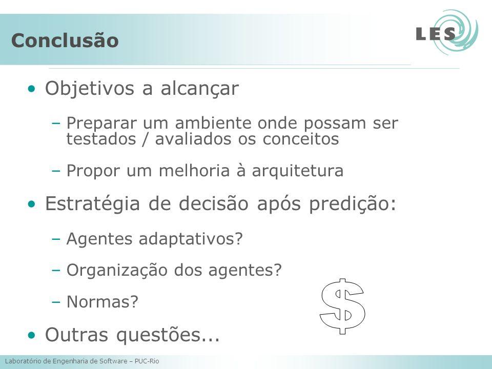 Laboratório de Engenharia de Software – PUC-Rio Conclusão Objetivos a alcançar –Preparar um ambiente onde possam ser testados / avaliados os conceitos