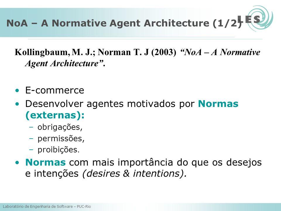 Laboratório de Engenharia de Software – PUC-Rio NoA – A Normative Agent Architecture (1/2) Kollingbaum, M. J.; Norman T. J (2003) NoA – A Normative Ag