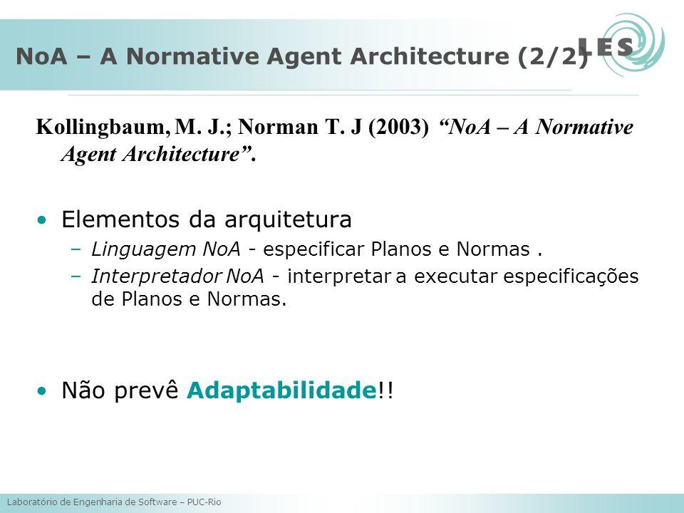 Laboratório de Engenharia de Software – PUC-Rio NoA – A Normative Agent Architecture (2/2) Kollingbaum, M. J.; Norman T. J (2003) NoA – A Normative Ag