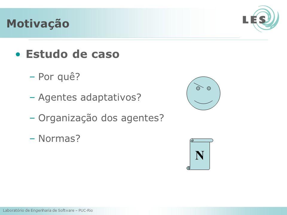 Laboratório de Engenharia de Software – PUC-Rio Motivação Estudo de caso –Por quê? –Agentes adaptativos? –Organização dos agentes? –Normas? N
