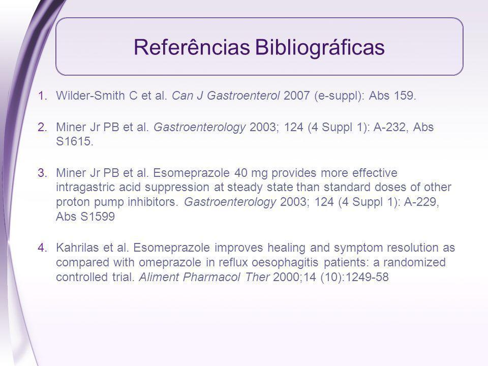 Referências Bibliográficas 1.Wilder-Smith C et al. Can J Gastroenterol 2007 (e-suppl): Abs 159. 2.Miner Jr PB et al. Gastroenterology 2003; 124 (4 Sup