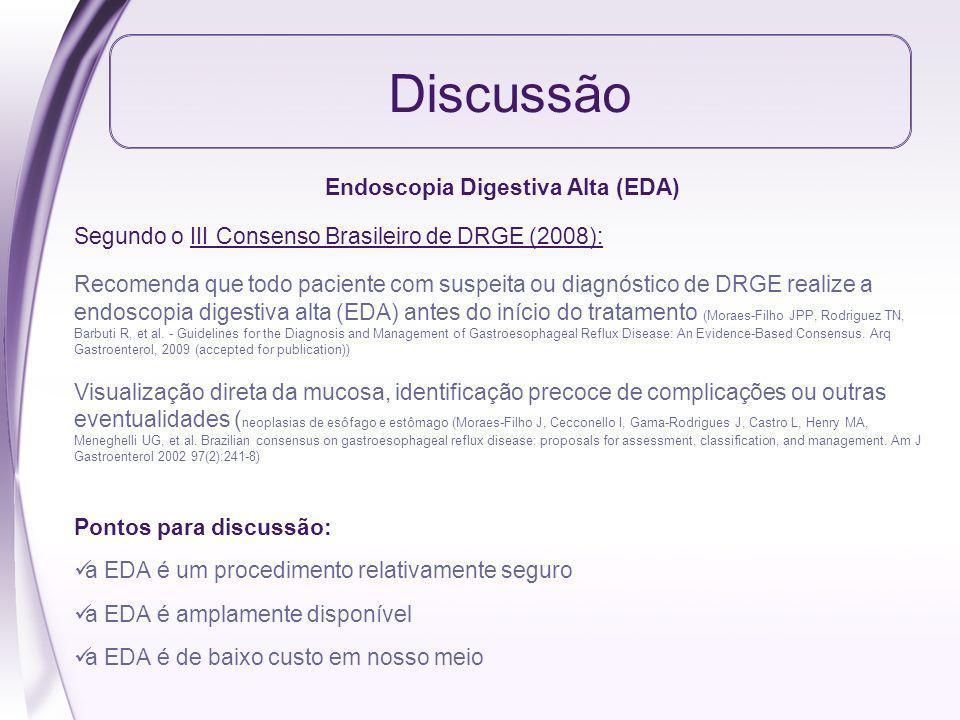 Discussão Endoscopia Digestiva Alta (EDA) Segundo o III Consenso Brasileiro de DRGE (2008): Recomenda que todo paciente com suspeita ou diagnóstico de