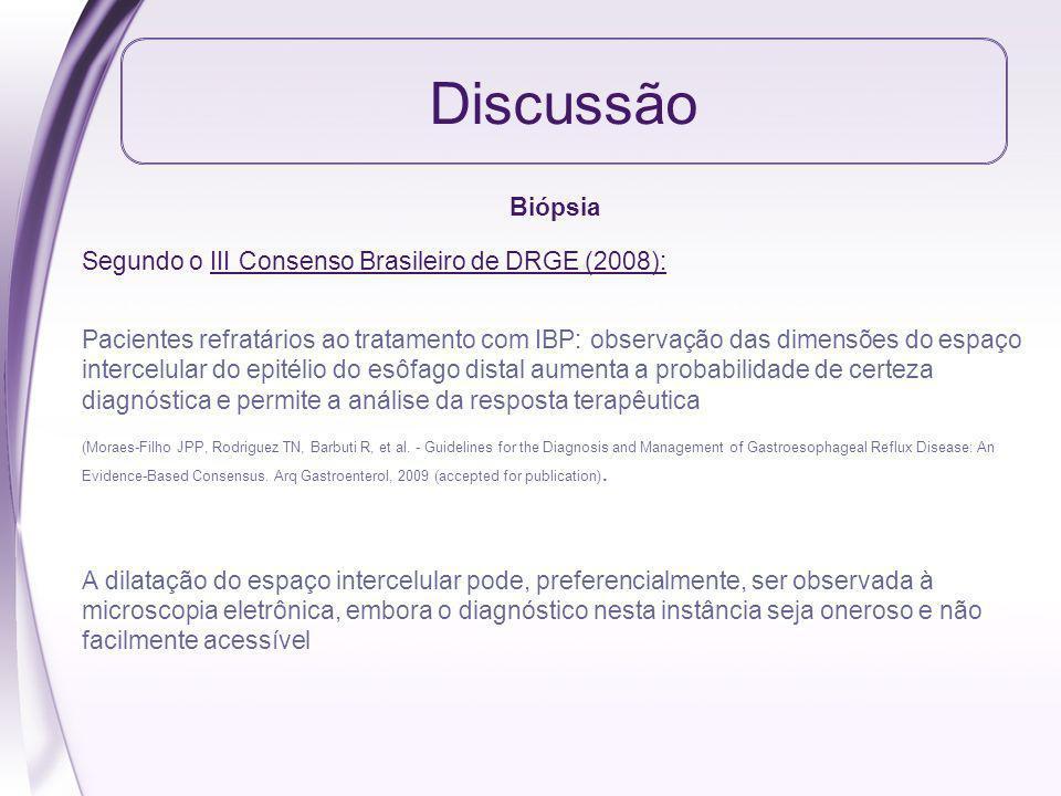 Discussão Biópsia Segundo o III Consenso Brasileiro de DRGE (2008): Pacientes refratários ao tratamento com IBP: observação das dimensões do espaço in