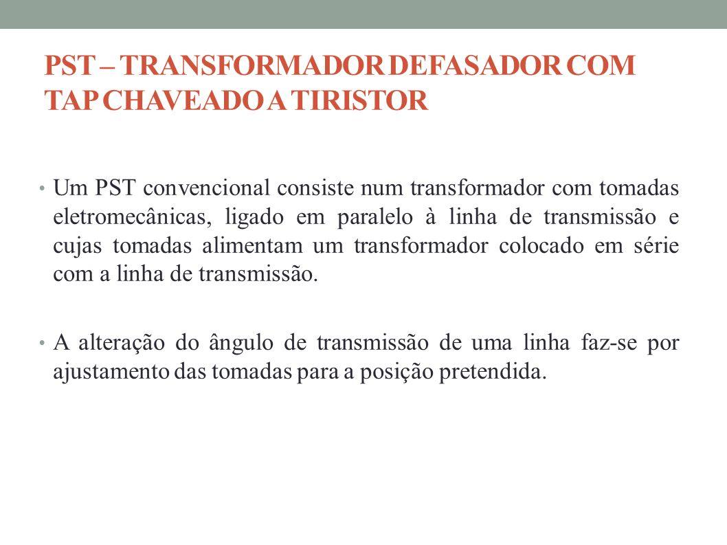 Um PST convencional consiste num transformador com tomadas eletromecânicas, ligado em paralelo à linha de transmissão e cujas tomadas alimentam um tra