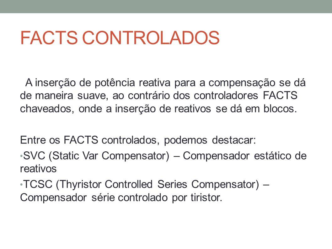 FACTS CONTROLADOS A inserção de potência reativa para a compensação se dá de maneira suave, ao contrário dos controladores FACTS chaveados, onde a ins