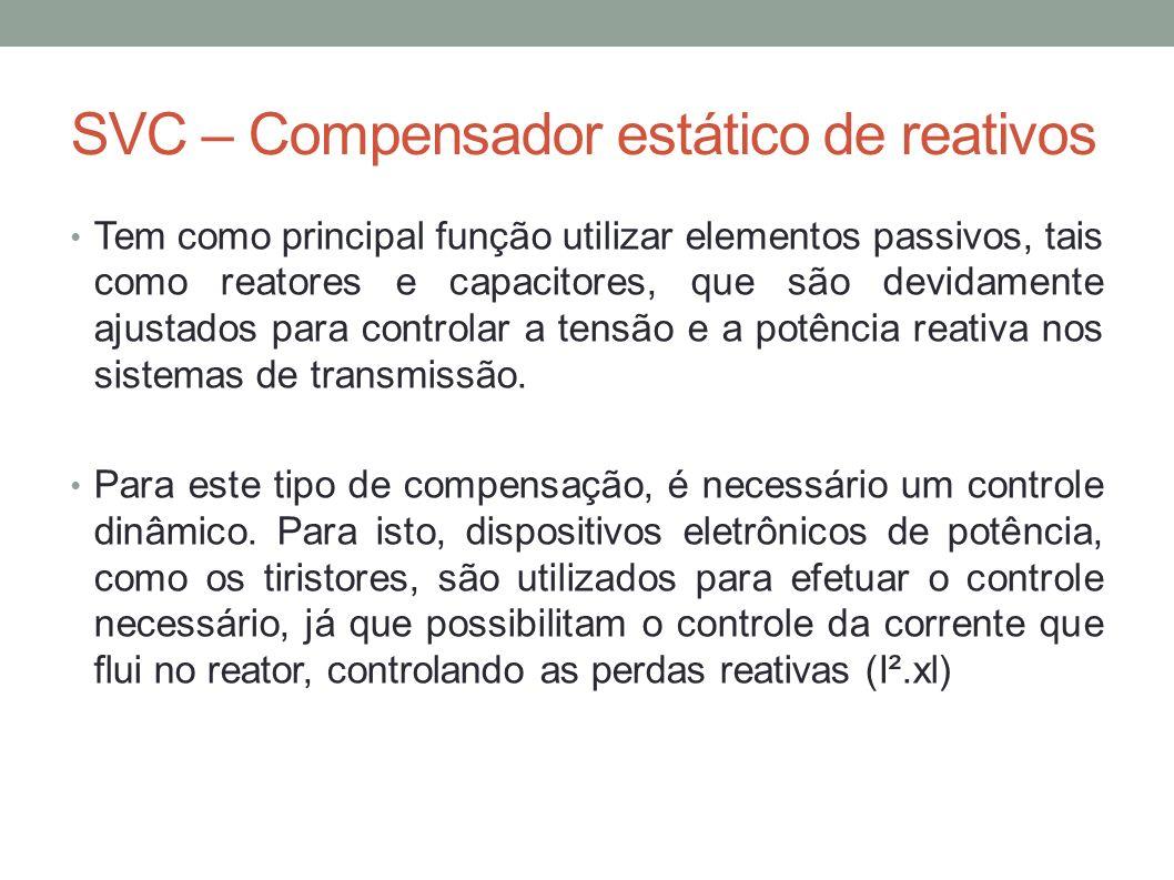 SVC – Compensador estático de reativos Tem como principal função utilizar elementos passivos, tais como reatores e capacitores, que são devidamente aj