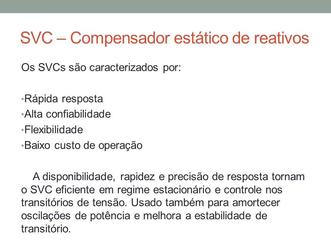 SVC – Compensador estático de reativos Os SVCs são caracterizados por: Rápida resposta Alta confiabilidade Flexibilidade Baixo custo de operação A dis