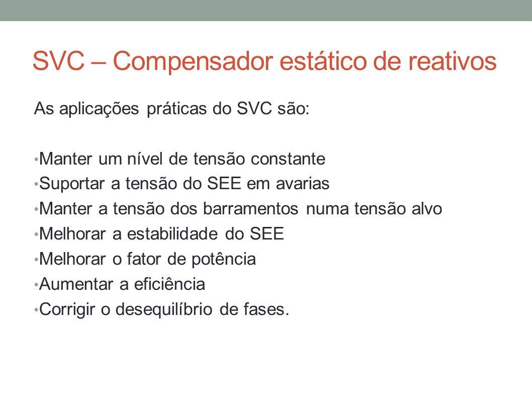 SVC – Compensador estático de reativos As aplicações práticas do SVC são: Manter um nível de tensão constante Suportar a tensão do SEE em avarias Mant
