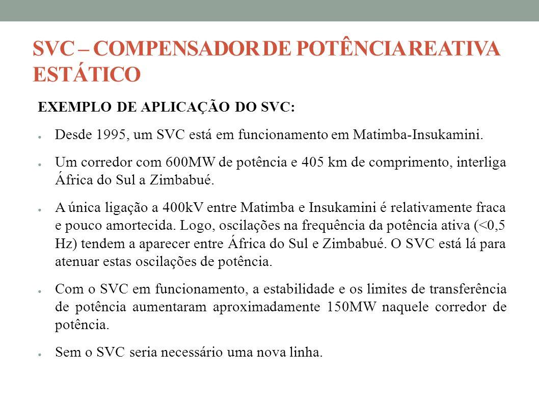 SVC – COMPENSADOR DE POTÊNCIA REATIVA ESTÁTICO EXEMPLO DE APLICAÇÃO DO SVC: Desde 1995, um SVC está em funcionamento em Matimba-Insukamini. Um corredo