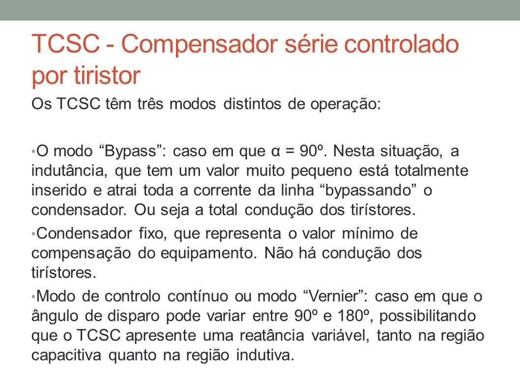 TCSC - Compensador série controlado por tiristor Os TCSC têm três modos distintos de operação: O modo Bypass: caso em que α = 90º. Nesta situação, a i