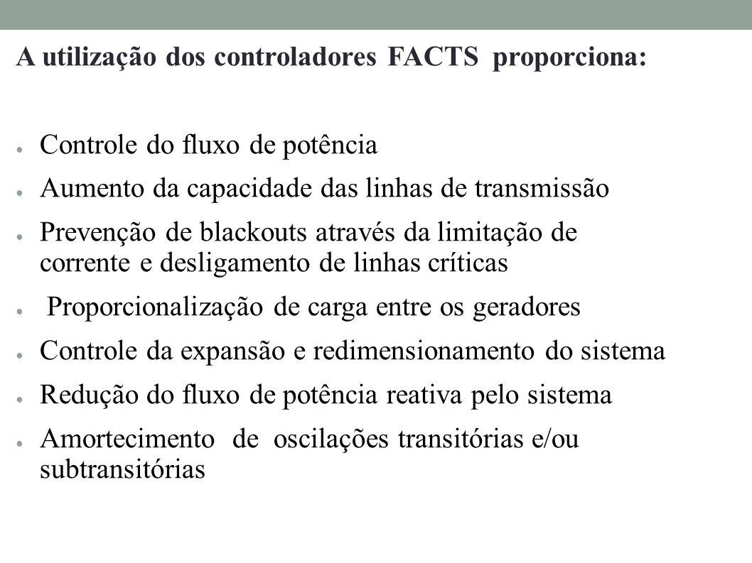 A utilização dos controladores FACTS proporciona: Controle do fluxo de potência Aumento da capacidade das linhas de transmissão Prevenção de blackouts