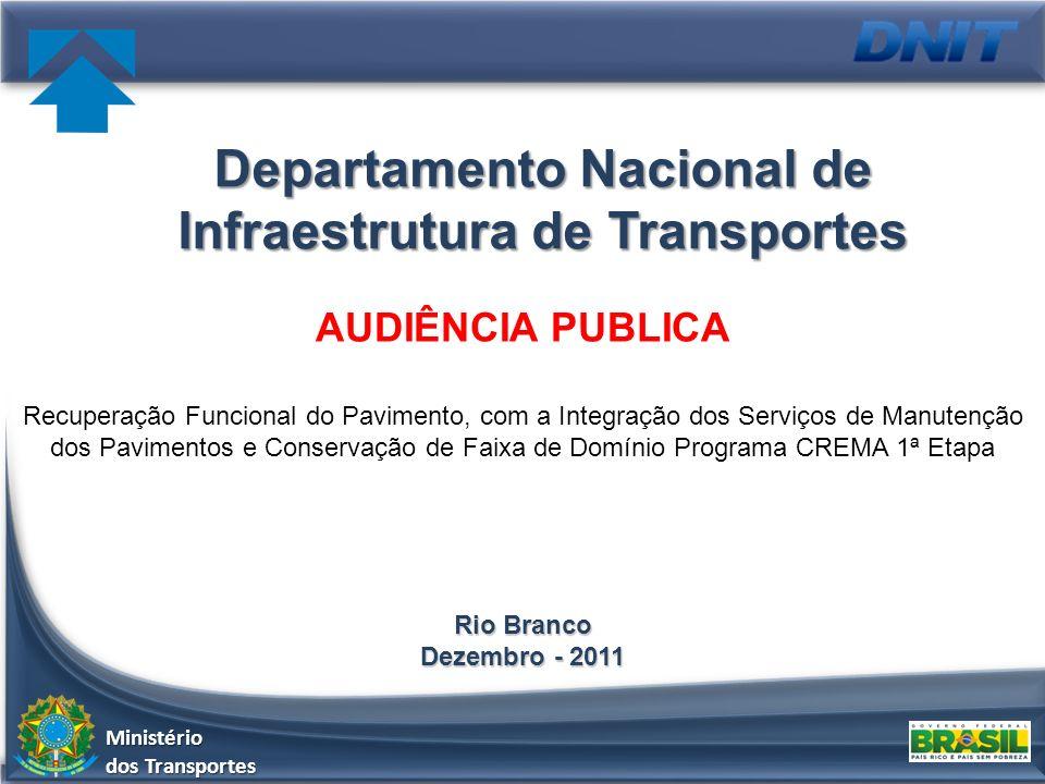 AUDIÊNCIA PUBLICA Recuperação Funcional do Pavimento, com a Integração dos Serviços de Manutenção dos Pavimentos e Conservação de Faixa de Domínio Pro