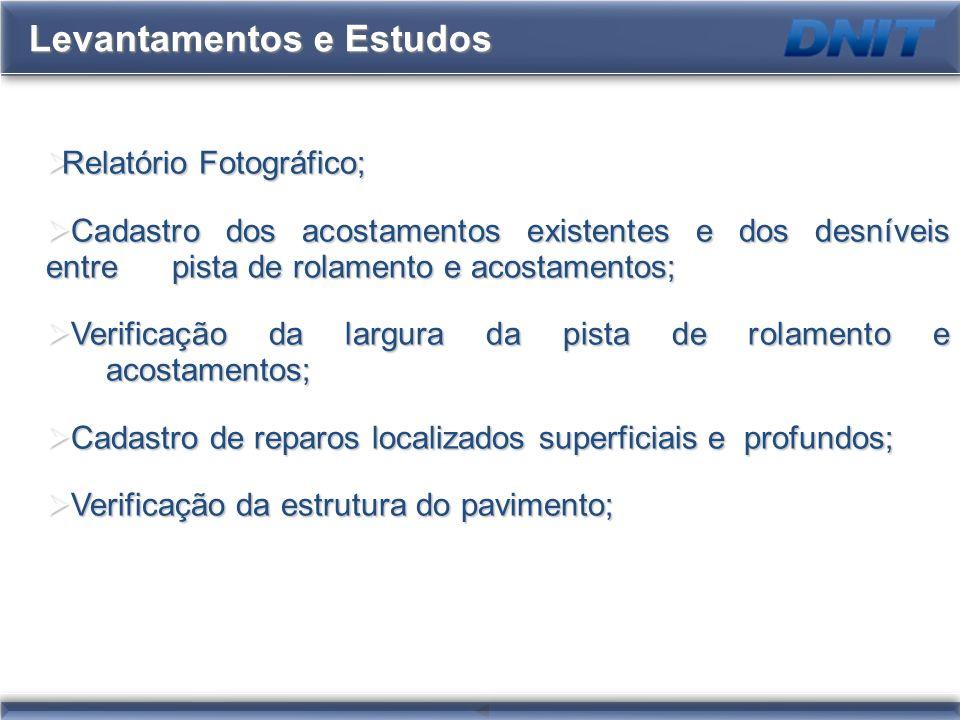 Relatório Fotográfico; Relatório Fotográfico; Cadastro dos acostamentos existentes e dos desníveis entre pista de rolamento e acostamentos; Cadastro d