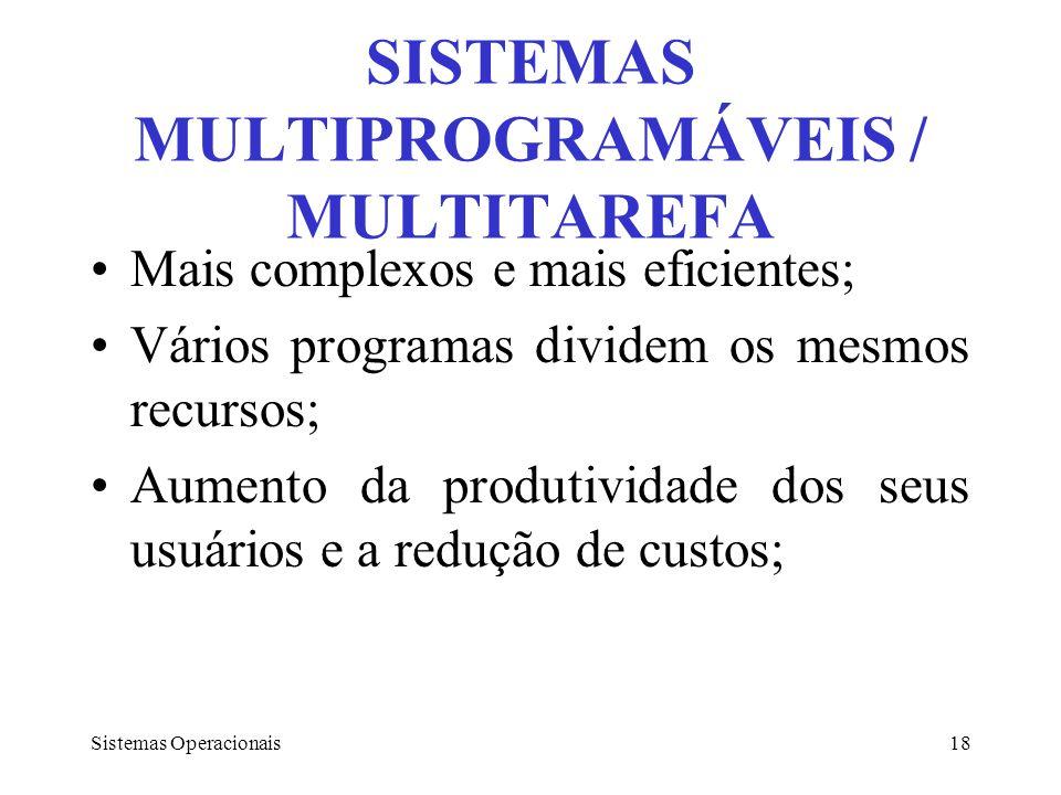 Sistemas Operacionais18 SISTEMAS MULTIPROGRAMÁVEIS / MULTITAREFA Mais complexos e mais eficientes; Vários programas dividem os mesmos recursos; Aument