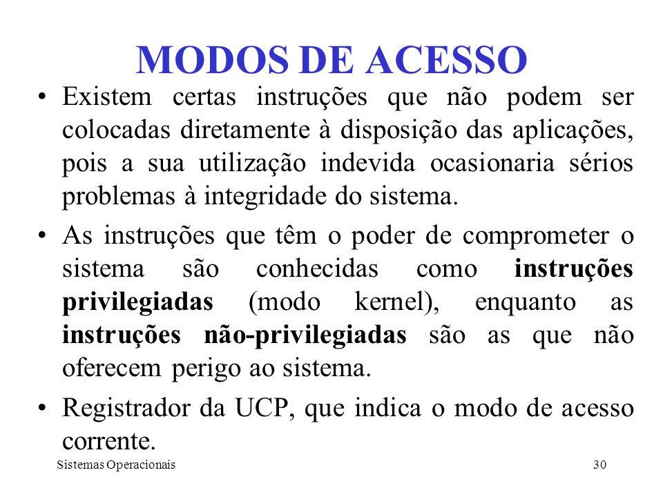 Sistemas Operacionais30 MODOS DE ACESSO Existem certas instruções que não podem ser colocadas diretamente à disposição das aplicações, pois a sua util