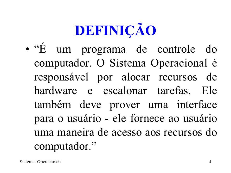 Sistemas Operacionais4 DEFINIÇÃO É um programa de controle do computador. O Sistema Operacional é responsável por alocar recursos de hardware e escalo