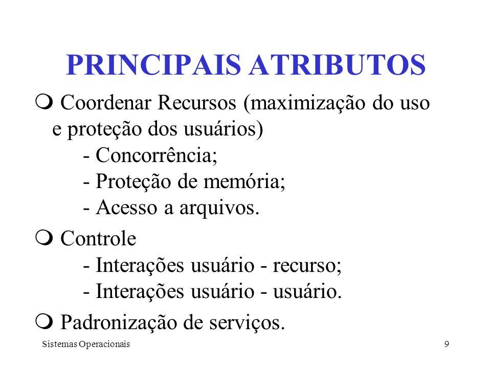 Sistemas Operacionais9 PRINCIPAIS ATRIBUTOS Coordenar Recursos (maximização do uso e proteção dos usuários) - Concorrência; - Proteção de memória; - A