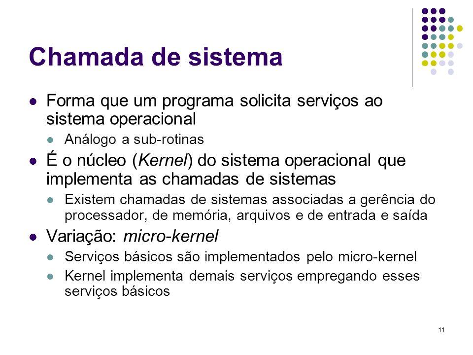 11 Chamada de sistema Forma que um programa solicita serviços ao sistema operacional Análogo a sub-rotinas É o núcleo (Kernel) do sistema operacional