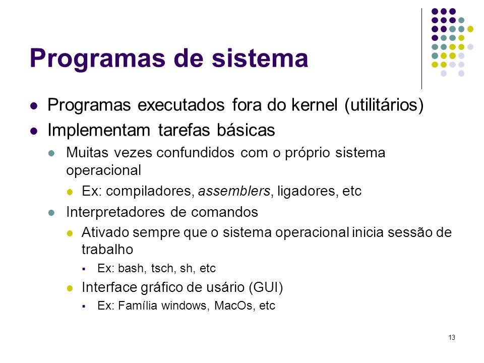 13 Programas de sistema Programas executados fora do kernel (utilitários) Implementam tarefas básicas Muitas vezes confundidos com o próprio sistema o
