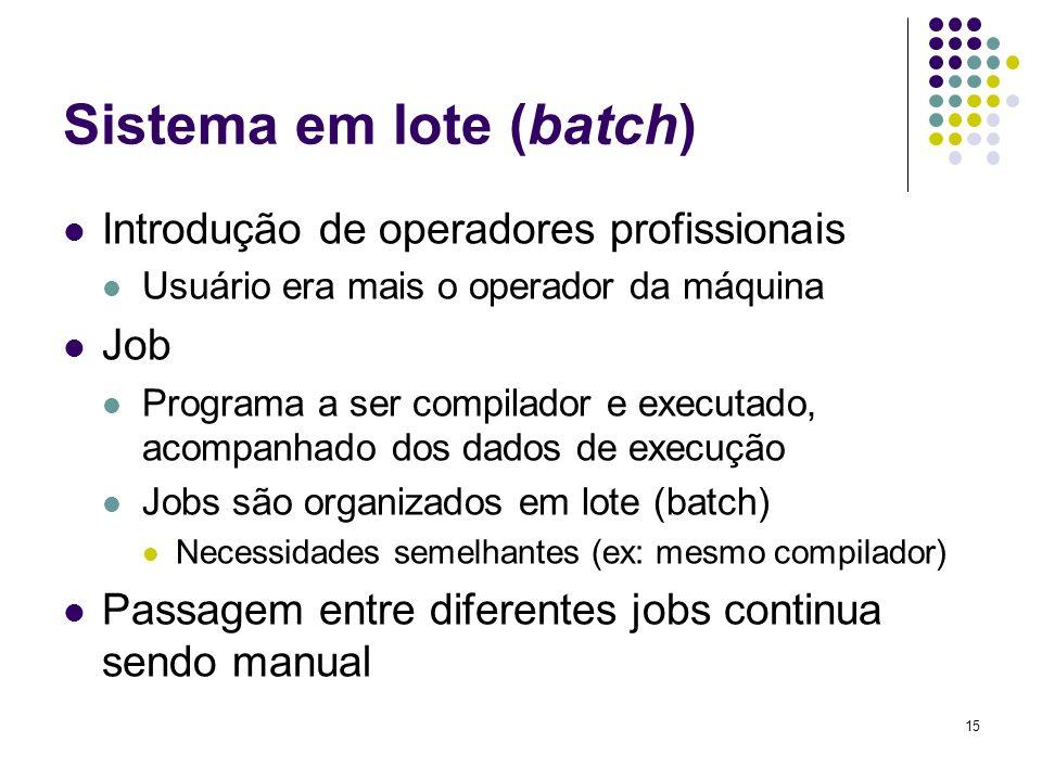 15 Sistema em lote (batch) Introdução de operadores profissionais Usuário era mais o operador da máquina Job Programa a ser compilador e executado, ac