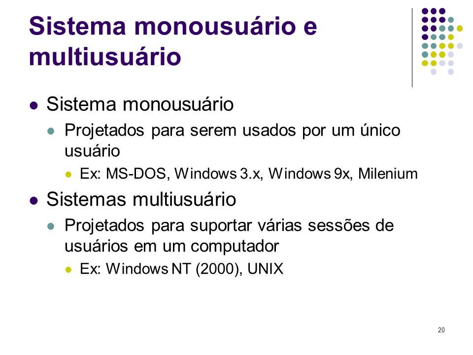 20 Sistema monousuário e multiusuário Sistema monousuário Projetados para serem usados por um único usuário Ex: MS-DOS, Windows 3.x, Windows 9x, Milen