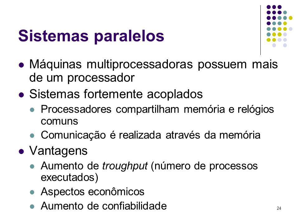 24 Sistemas paralelos Máquinas multiprocessadoras possuem mais de um processador Sistemas fortemente acoplados Processadores compartilham memória e re